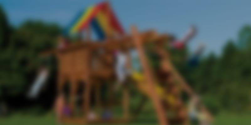 playground with rainbow shade