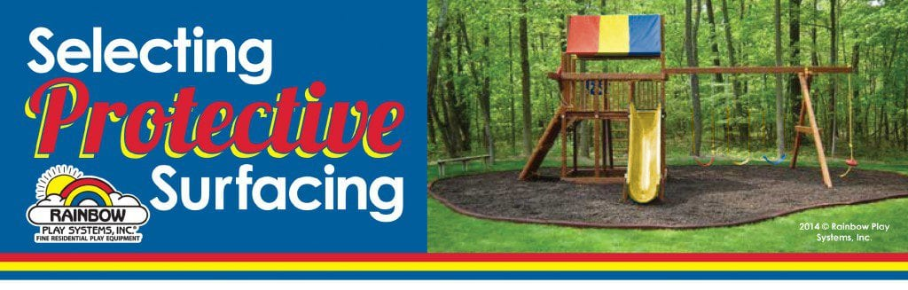 selecting protective surfacing - wooden swing set in mulch
